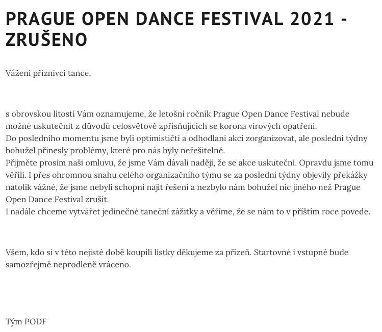 prague open dance festival cancelled